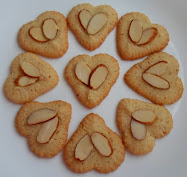 almond or chocolate Heart shaped spritz