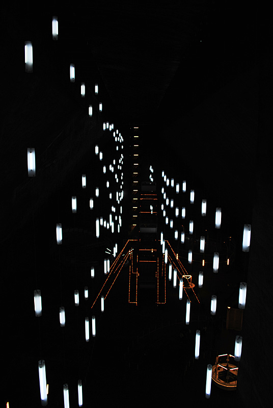 White lights with orange lines