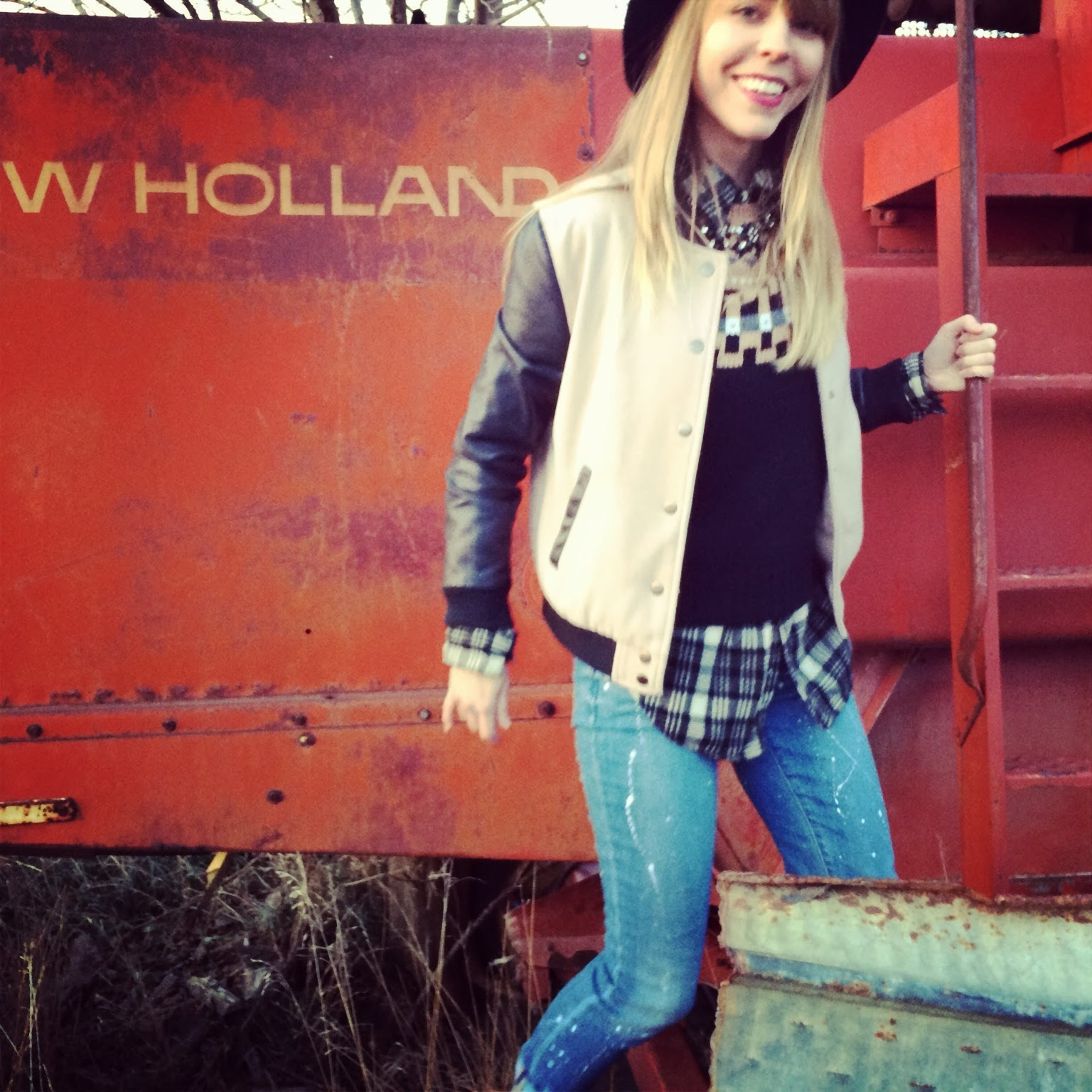 Nebraska, cornfield, Madewell, Topshop, Plaid, Denim, Fashion, Casual, Roots, Tractor, Vintage, Borrowed