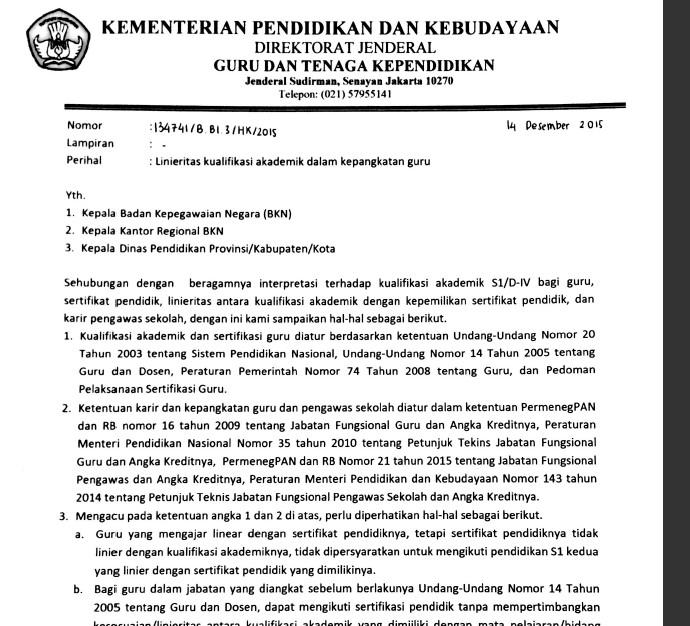 Surat Edaran Ditjen GTK Tentang Linieritas Kualifikasi Akademik Dalam Kepangkatan Guru