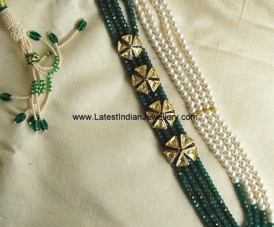 Emerald Pearls Long Beads Chain