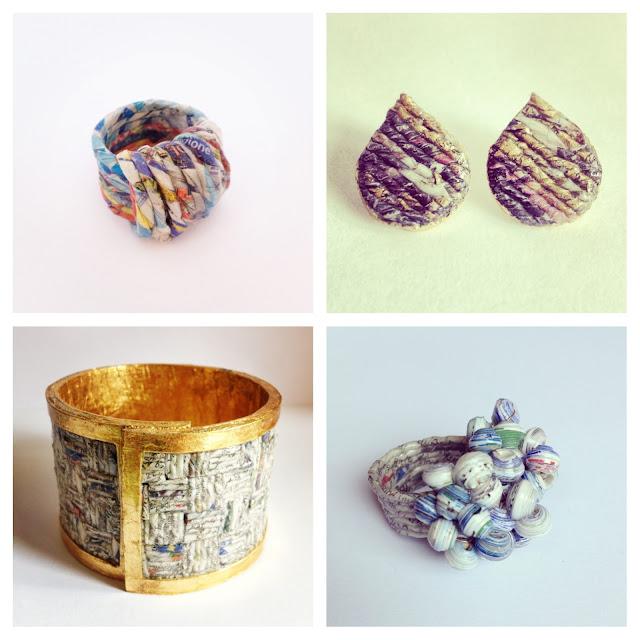 Anello e orecchini di carta, idea riciclo
