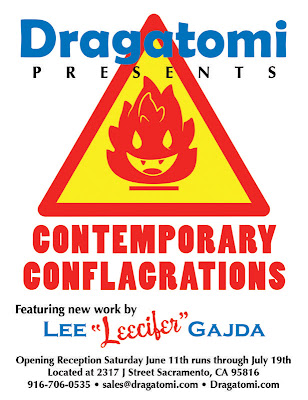 "Leecifer's ""Contemporary Conflagrations"" Custom Toy Show at Dragatomi Flyer"