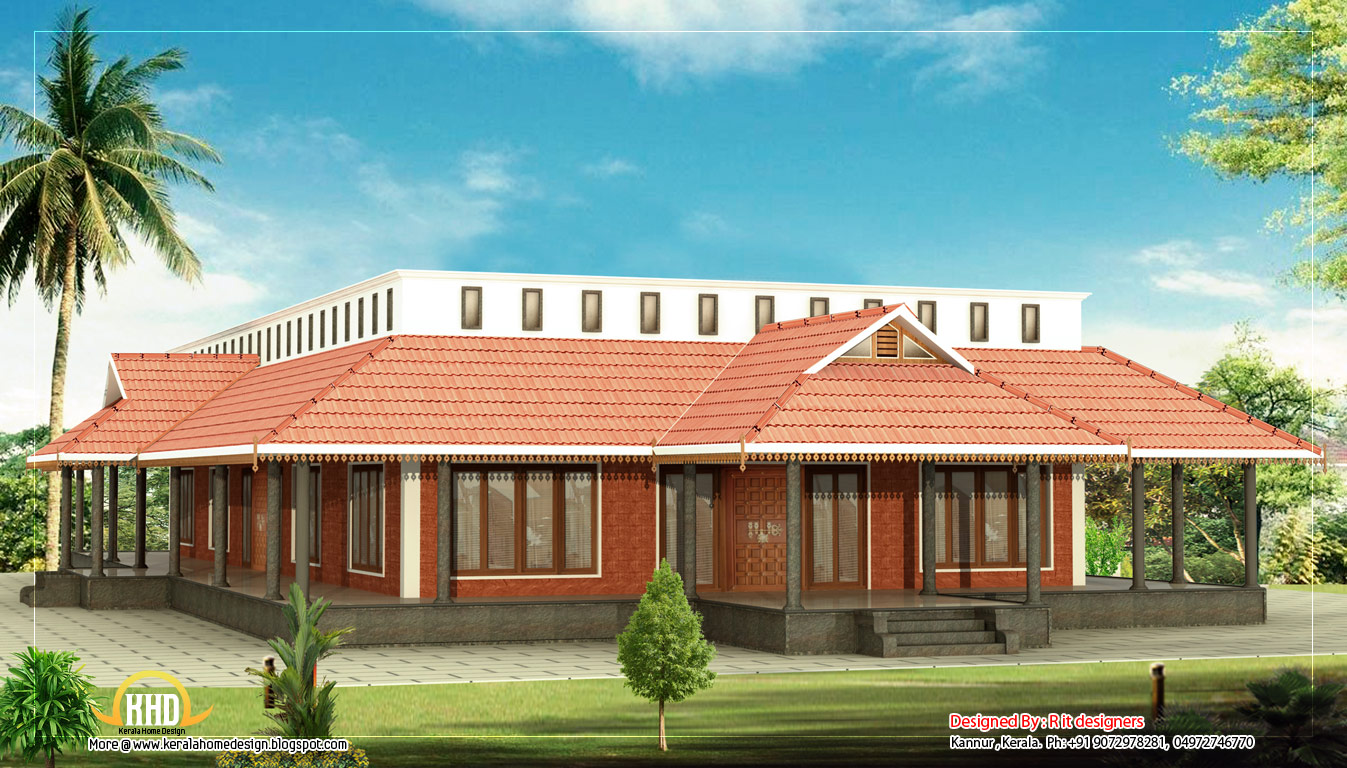 Kerala style single floor house 3205 sq ft kerala for Single floor house
