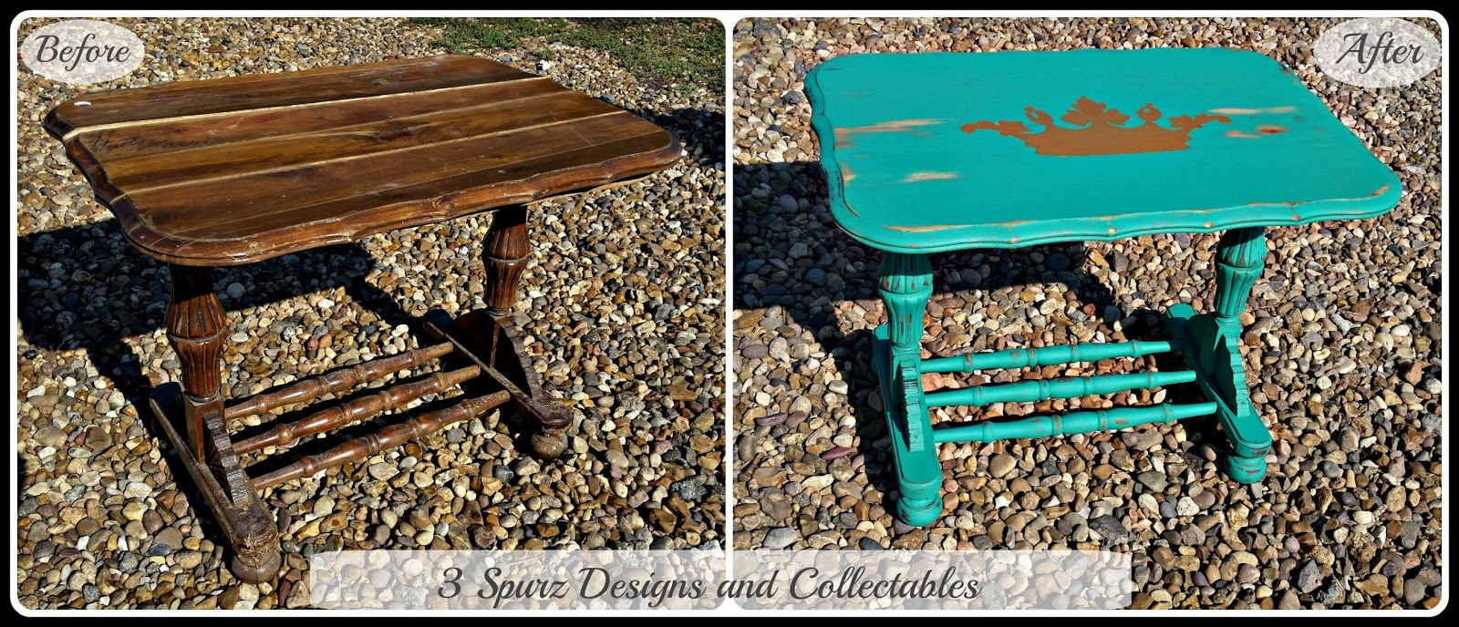 3 Spurz DandC Repurposed Refurbished Creations Gallery : emerald2Bsmall2Btable2Bba from 3spurzdesignsandcollectables.blogspot.it size 1600 x 688 jpeg 465kB