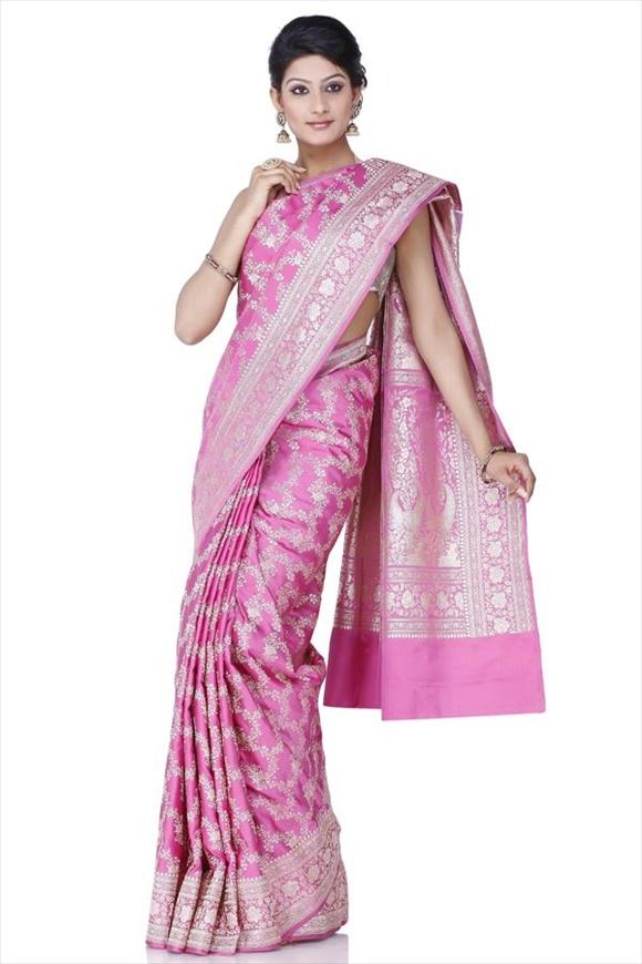 Cherry Blossom Pink Kattan Silk Banarasi Saree