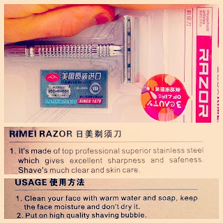 photo of cheapest safety razor and funny engrish packaging