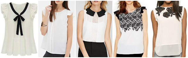 Romwe Ruffle Sleeve Bow Tie Front Chiffon Blouse $12.50 (regular $24.87)  Forever 21 Pleated Woven Blouse $17.90  Forever 21 Crochet Paneled Collared Blouse $19.90  Kensie Flutter Sleeve Contrast Print Blouse $29.99 (regular $59.00)  Rebecca Taylor Floral LAce Applique Top $192.50 (regular $275.00)