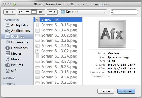 safx windowsアプリをmac上で簡単に動かせるようにするツールwineskin