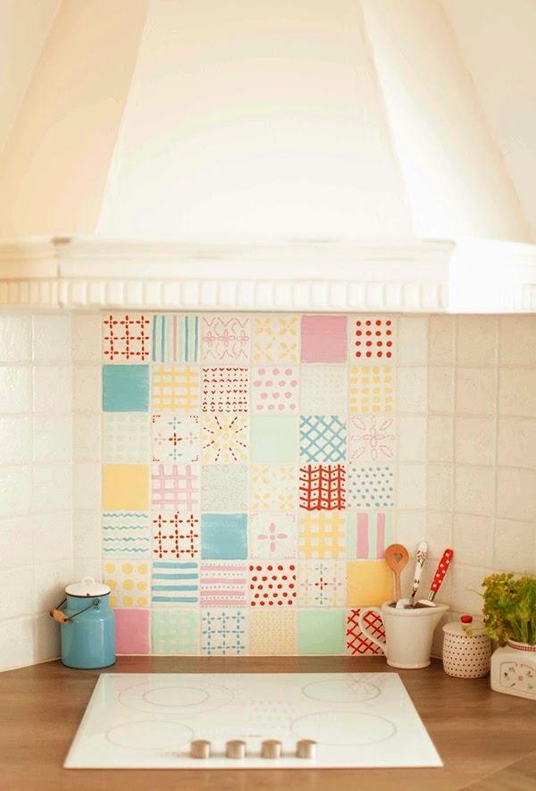Minty inspirations wystr j wn trz dodatki i dekoracje - Azulejos pintados cocina ...