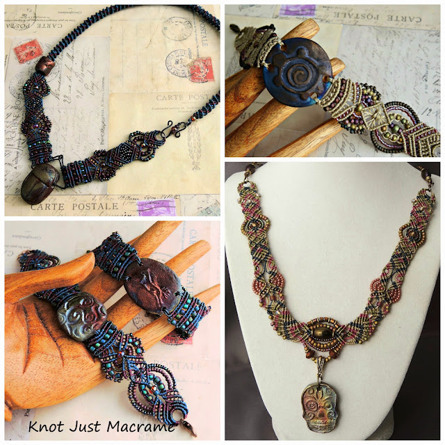 Micro macrame bracelets and necklaces featuring art beads.