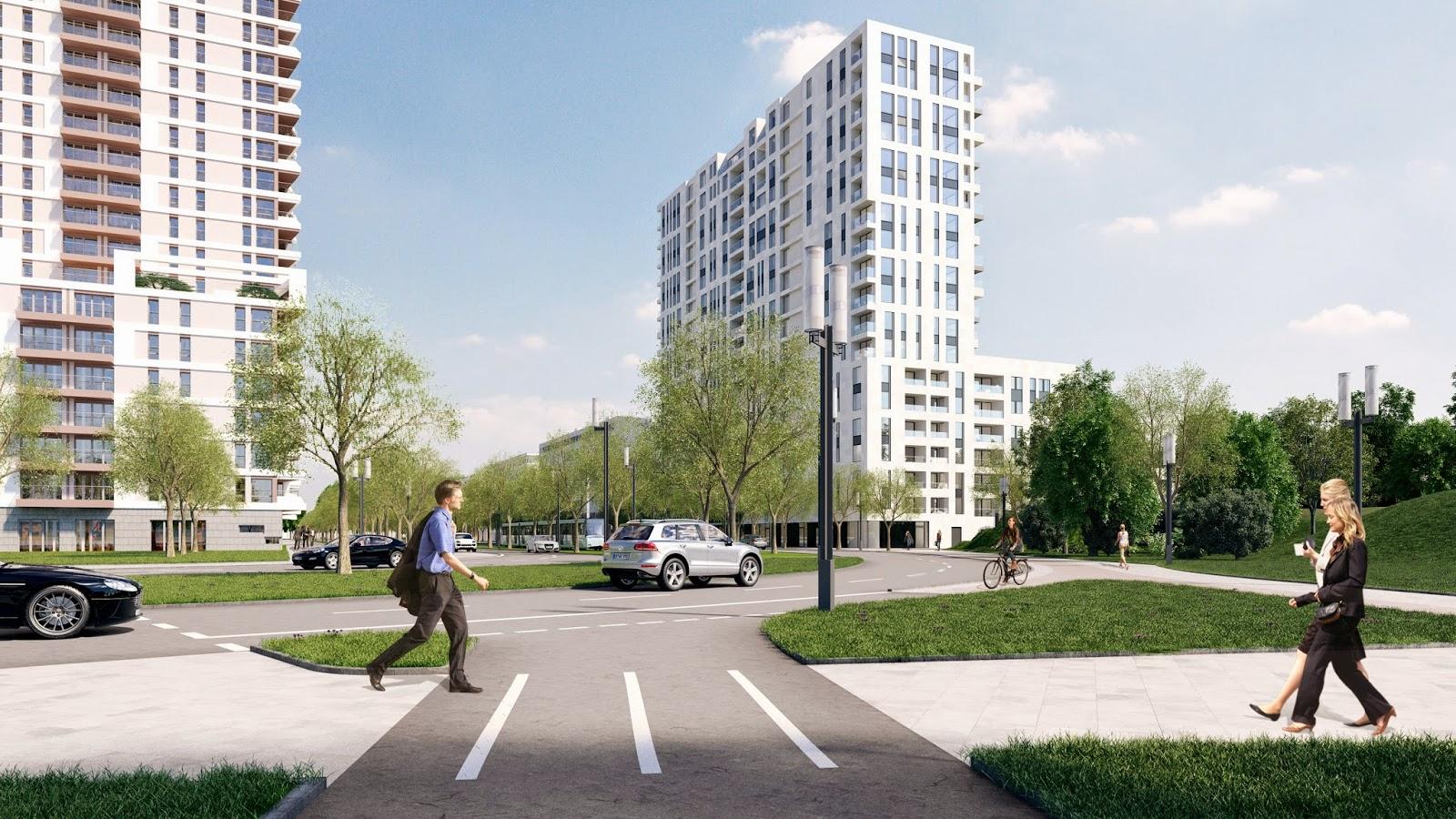 Visualisierung Axis Nordwestansicht; Bild: axis-frankfurt.de