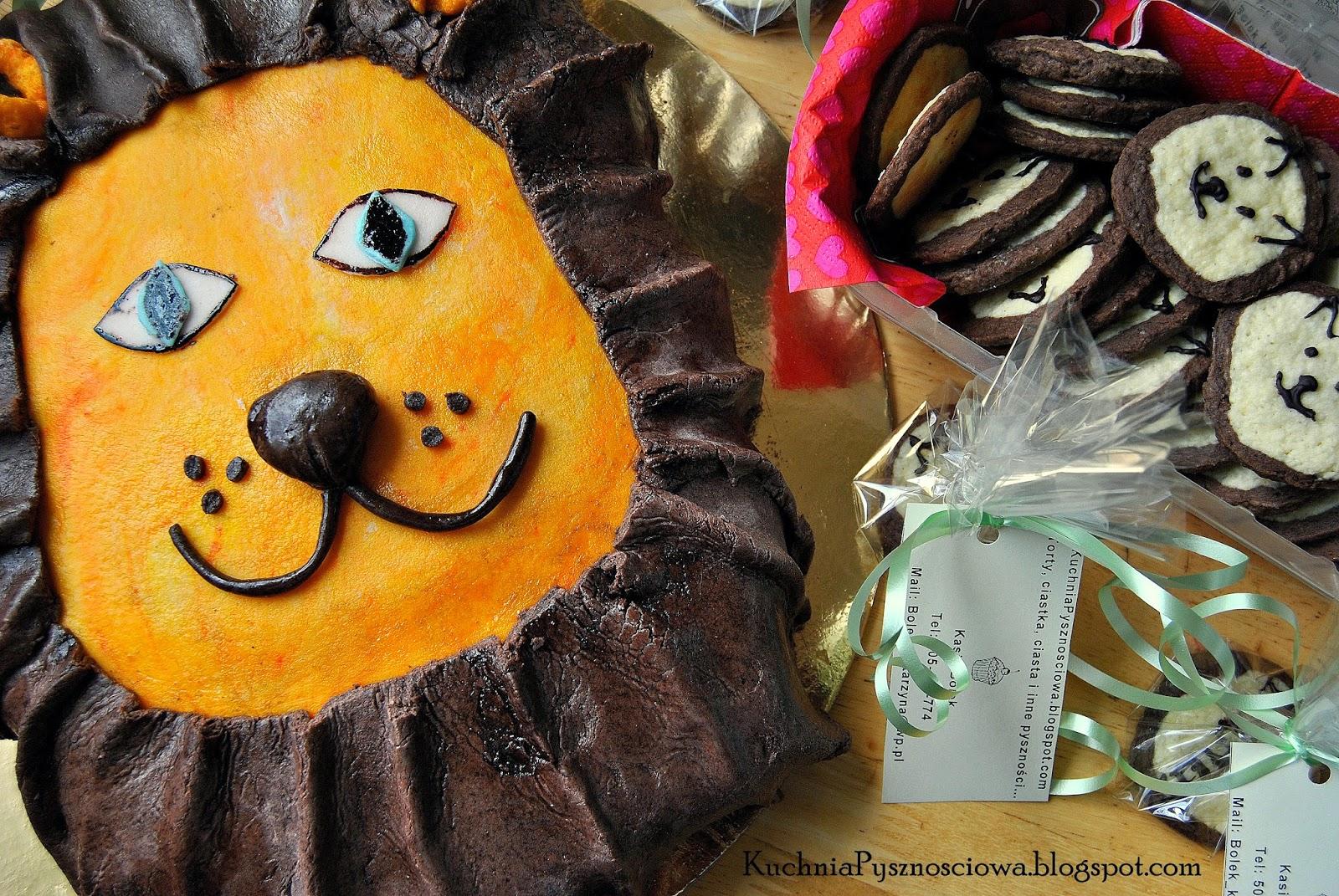 Tort z lwem i ciasteczka lwy dla Leosia