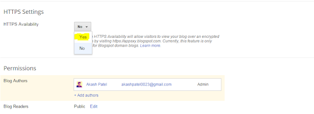 How to enable HTTPS on Blogger Blog Step 3 image
