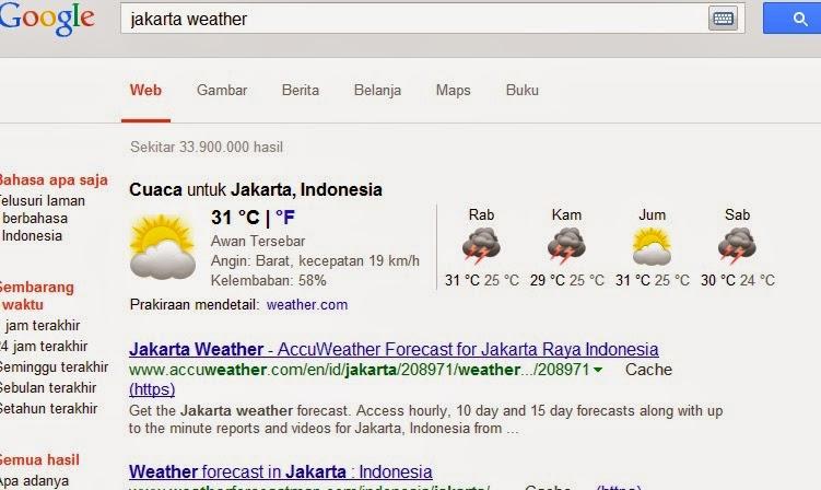 hasil pencarian google informasi ramalan prakiraan cuaca kota jakarta