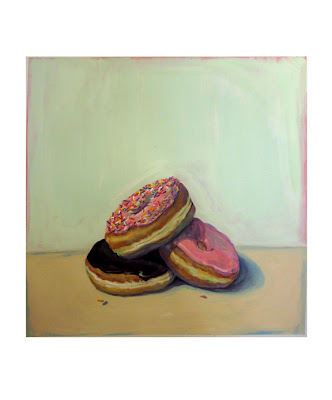 Gouache painting of three doughnuts, sprinkles, chocolate glaze, and strawberry glaze