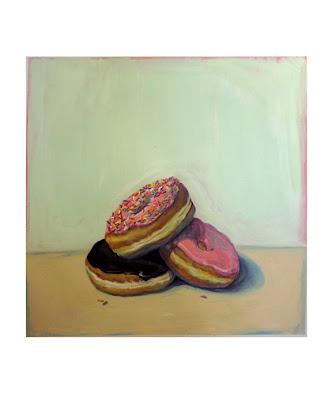 Gouache painting of three doughnuts, sprinkles, chocolate glaze, and strawberry glaze