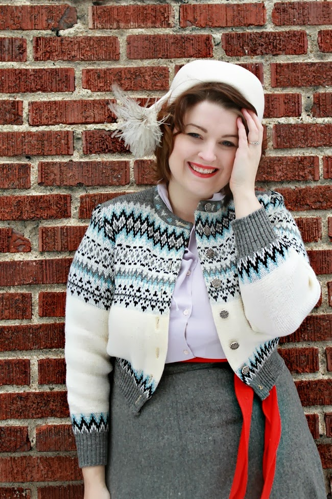 vintage winter fairisle sweater and 1960s feather pom pom hat