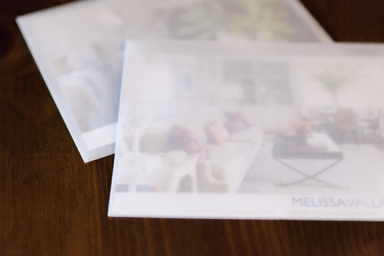 Promotional postcards printed by GotPrint, in velum envelopes.