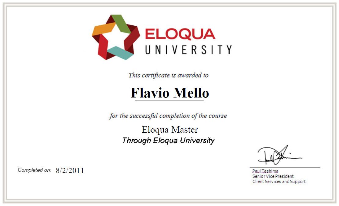 Flavio Mellos Blog Eloqua Master Certification