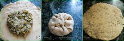 step 3 of making paratha