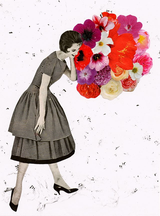 handmade collage with black and white vintage woman with a circle of pink red and white flowers by her head