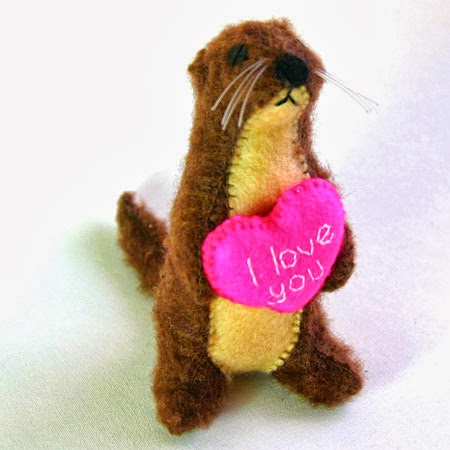 Hand Sewn Otter With Embroidered Heart
