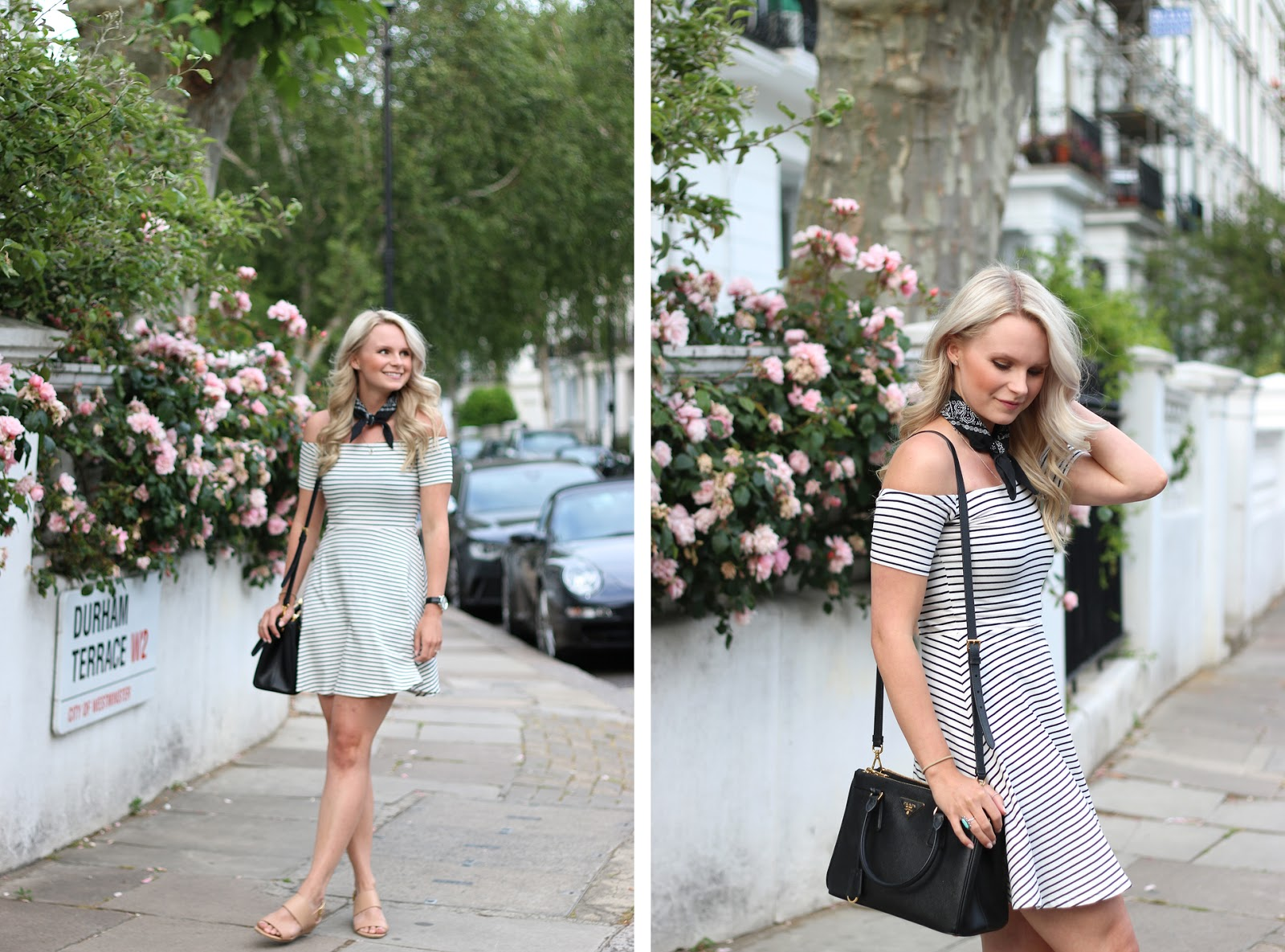 prada purse in london, happily strolling through the streets of notting hill, beautiful flowers in the background, easy go-to date night outfit, vintage shopping