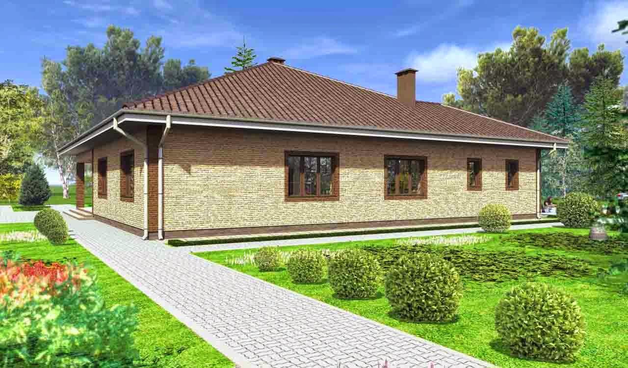 Дизайны одноэтажных домов снаружи