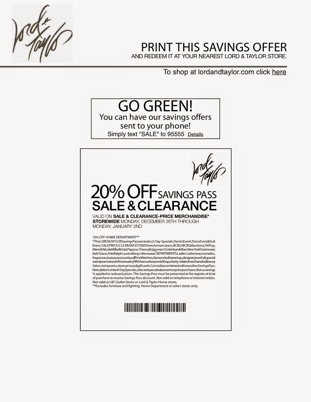 photo relating to Lord and Taylor Printable Coupon titled Lord and taylor printable coupon may possibly 2018 : Black friday