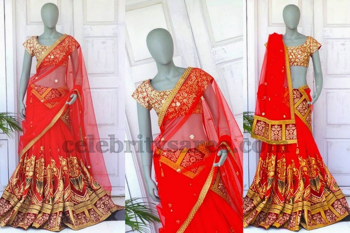 Latest Red Zardosi Half Saree