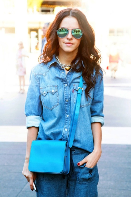 denim on denim, blue leather cross body bag, mirrored aviators, street style
