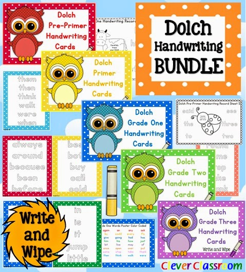 Dolch Handwriting Center Cards Bundle - {all five lists} - Write and Wipe Polka Dot Theme PDF file  Your writing centers are all ready to go with these easy to use Dolch Handwriting cards - write and wipe.  Includes 5 Dolch sets: Dolch Pre-Primer Words Dolch Primer Words Dolch Grade One Words DolchGrade Two Words and  Dolch Grade Three Words