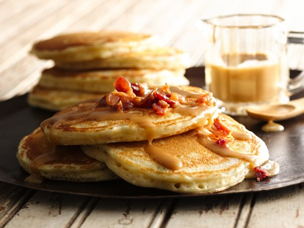 My Favorite Things: Easy Bacon Pancakes with Maple-Peanut Butter Syrup