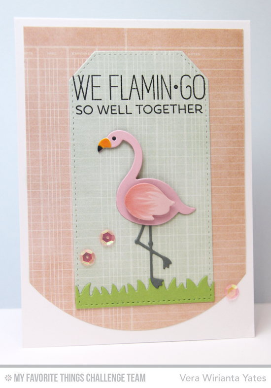 We Flamingo Together Card by Vera Wirianta Yates featuring the Laina Lamb Design Tickled Pink stamp set and Flamingo Die-namics