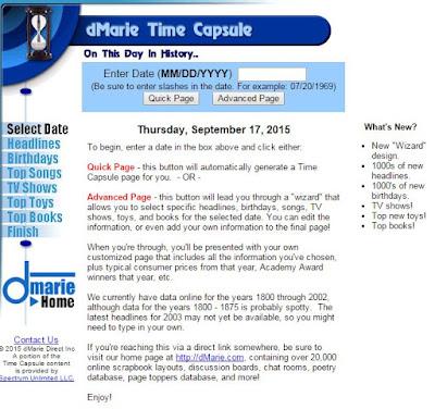dMarie Time Capsule website