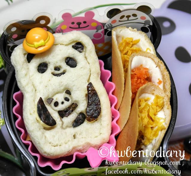 Let's meet Mama Panda with Baby Panda. I made mini panda sandwich ...