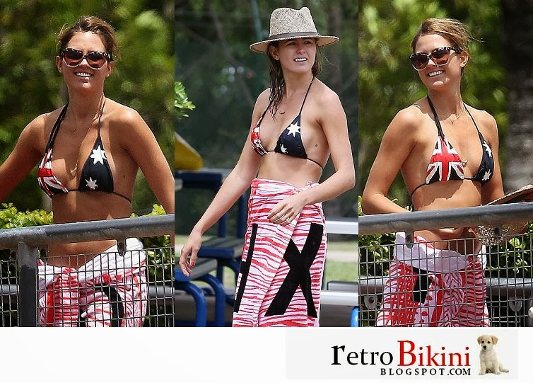 English:Jesinta Campbell Blue Bikini Queensland January‭ ‬26,‭ ‬2014‭