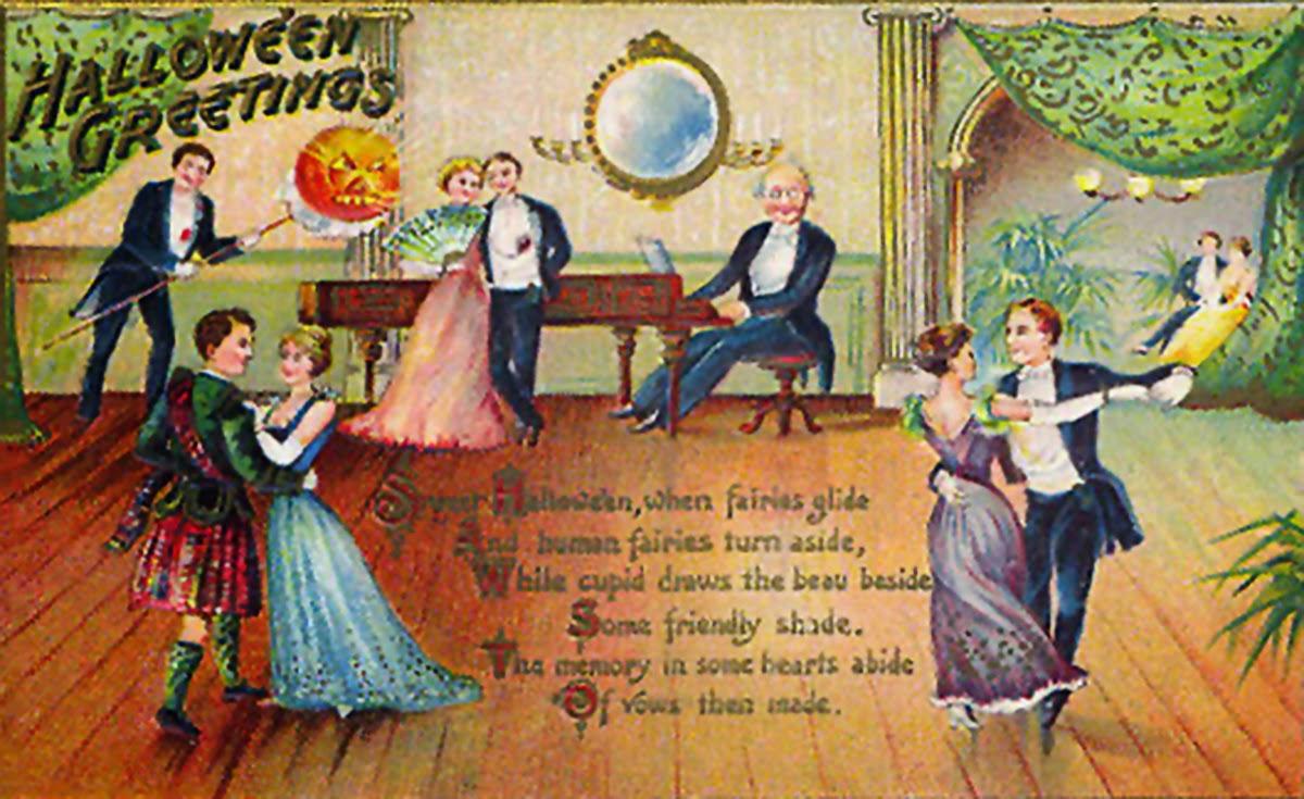 Victorian Halloween postcard vintage graphic