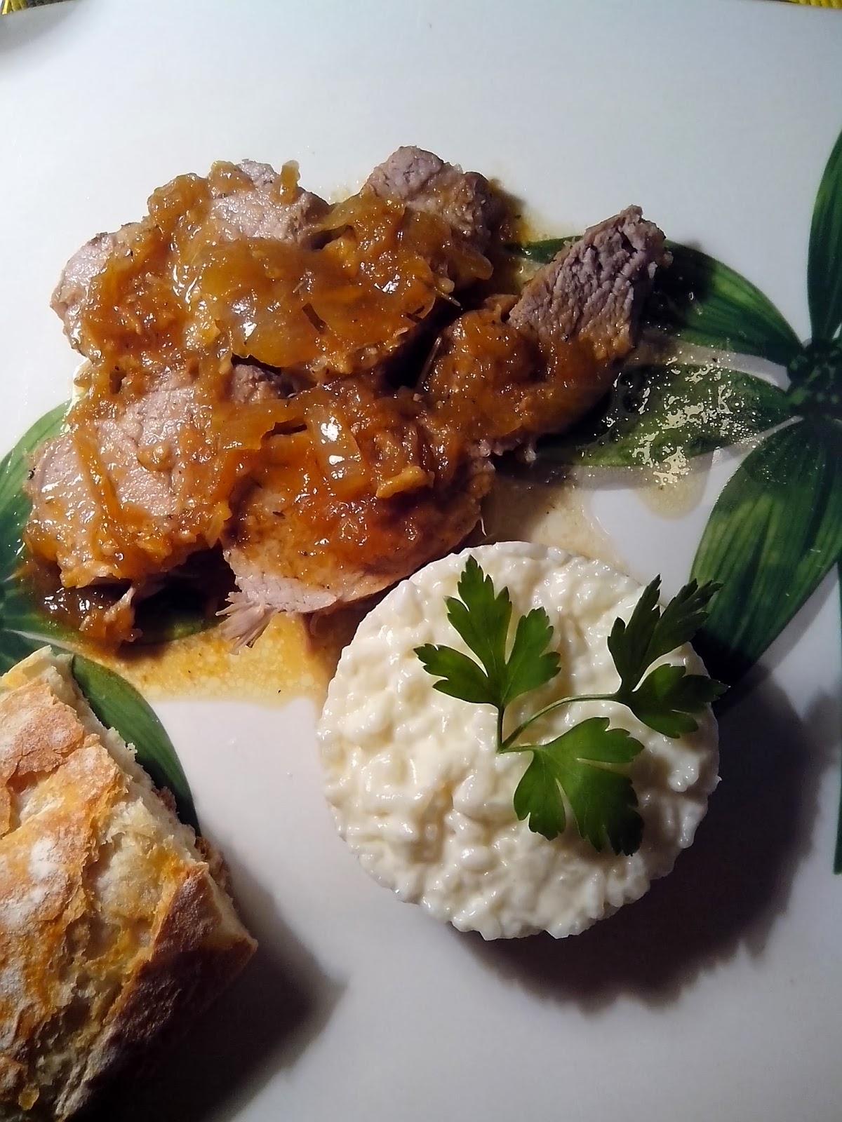solomillo de cerdo al romero con risotto en blanco