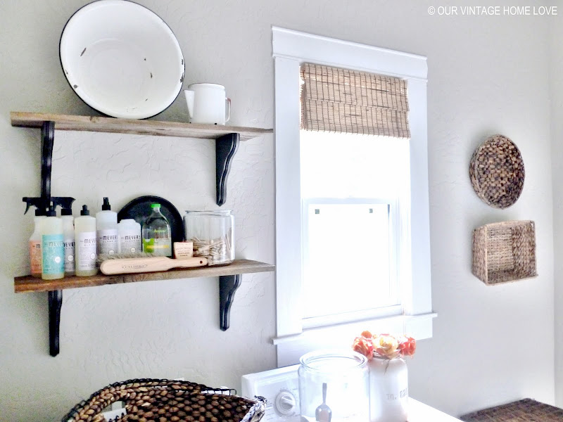 the door and the wall shelves with the last bits of our barn wood title=