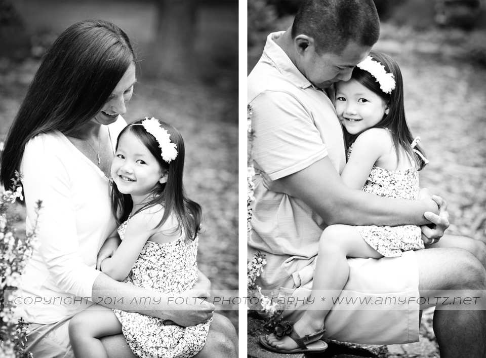 black and white images of toddler girl with parents