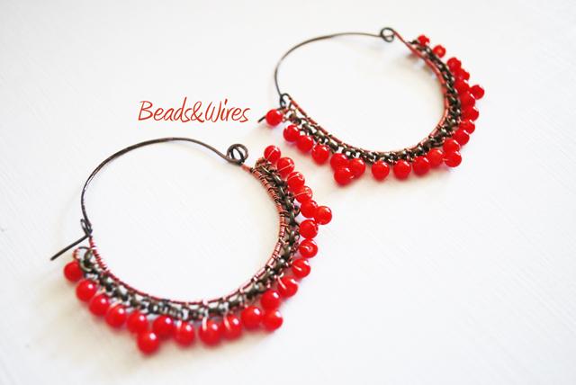 orecchini perline rosse