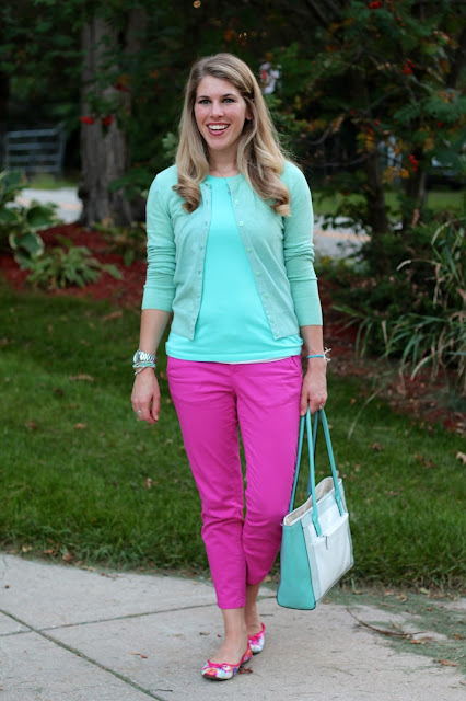 pink ankle pants, mint top and cardigan, mint tote bag, floral flats