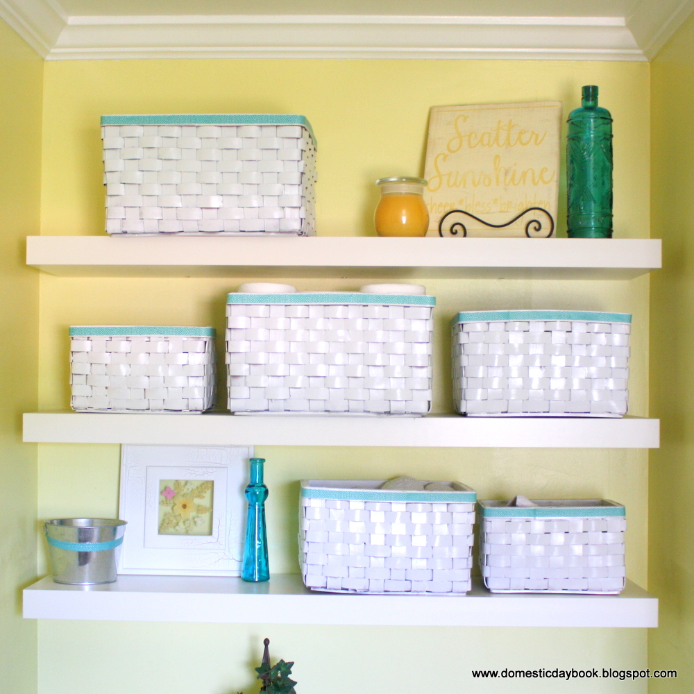 My domestic daybook bathroom shelves for A bathroom item that starts with p