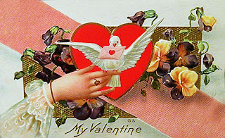 antique embossed valentine postcard post card with heart, dove and pansy