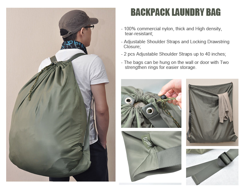 i will heavy duty 100% nylon laundry bag with adjustable shoulder