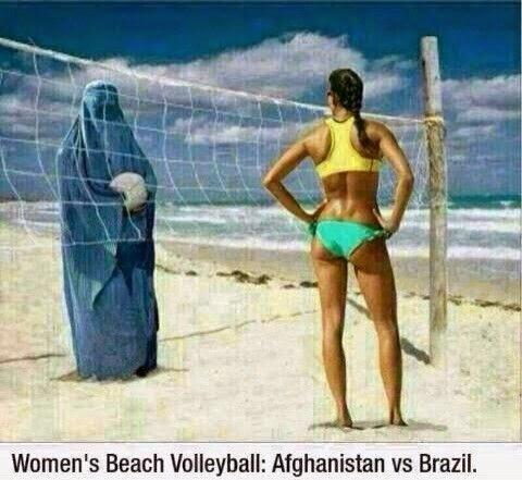 Funny Burka Muslim Afghanistan vs Brazil Women's Beach Volleyball Joke Picture