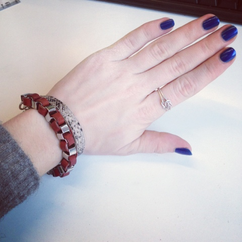 china glaze calypso blue swatch, favourite arm candy som cos and h&m, ring baublebar by etsy