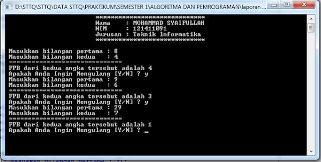 Program Menentukan FPB dari Dua Bilangan C++